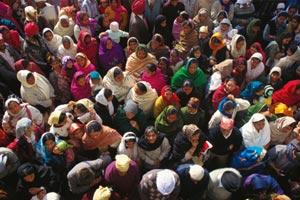 crowd scene in India